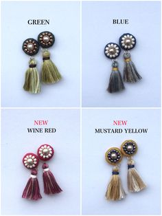 Nice and easy. Silk Thread Bangles, Thread Jewellery, Textile Jewelry, Tassel Earing, Tassel Jewelry, Beaded Jewelry, Diy Earrings, Crochet Earrings, Handmade Accessories