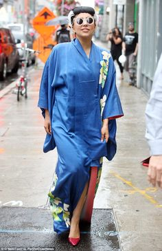 Namaste! Lady Gaga made yet another fashion statement in a luxurious blue kimono as she he...