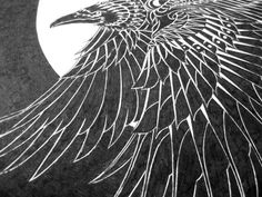 """""""Moonlight Raven"""" by BioWorkZ on Behance.  Ink on illustration board.  Process from initial sketch, to final product."""