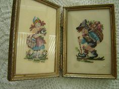Vintage Pair Needlepoint Crosstitch Hummel Children by PeggysTrove, $25.00