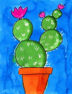 "How to Draw a Cactus · Art Projects for Kids - Watercolor Cactus. A great way to introduce kids the to ""white crayon trick"". Art Drawings For Kids, Drawing For Kids, Painting For Kids, Art For Kids, Painting Art, Paintings, Cactus Drawing, Cactus Painting, Cactus Art"