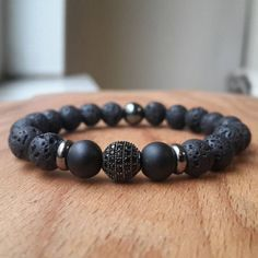 Mens-8MM-Lava-Rock-Gunmetal-Disco-Zircon-Ball-Bracelet-Gemstone-Beaded-Bracelet