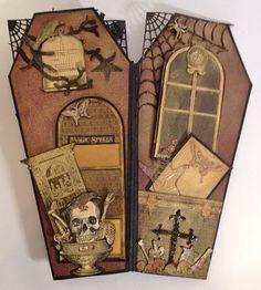 Graphic 45 Rare Oddities Halloween coffin mini album - base video tutorial by Anne Rostad