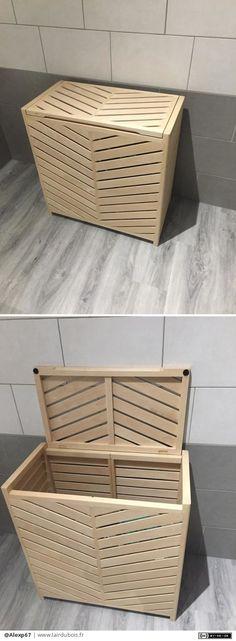 Panier à linge pour salle de bain.    Dimension 70x74x37.    Double compartiment à l'intérieur (séparation amovible à venir)    Couvercle avec charnières en laiton.
