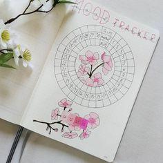 Mood tracker for in bullet journal   Floral Tracker   Bullet Journal Tracler #bulletjournal #bujo