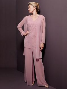 New V Neck Long Sleeves Long Mother of The Bride Dresses