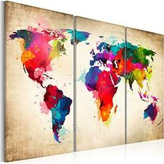 Map of the world map abstract painting canvas art a3 to a1 v778 world map canvas more gumiabroncs Images