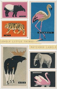 Vintage matchbook labels