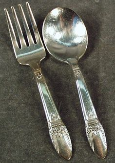 Vintage 2pc Baby's Silver Plate Flatware Set - First Love   $28