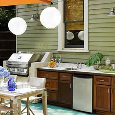 Backyard Oasis - Amenities for an Outdoor Kitchen - Outdoor amenities can make your patio or deck perfect for entertaining. This outdoor kitchen comes complete with a grill, refrigerator, sink, and plenty of counter space. Outdoor Room Decor, Outdoor Decor, Wellness Design, Home, Outdoor Kitchen Design, Outdoor Rooms, Outdoor Kitchen, Outdoor Kitchen Countertops, Kitchen Design