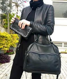 Tes Leather Bags black Charlie handbag and large studded wallet. So Chic! https://www.etsy.com/il-en/shop/TESLeatherDesign?ref=hdr_shop_menu