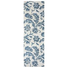 Arden Loft Crown Way Natural/ Teal Floral Hand-tufted Wool Area Rug (2'6' x 10')