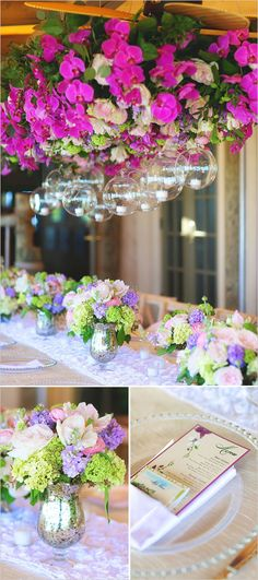 Pink and purple wedding island reception by Avant Gardens Miami in a wedding at Little Palm Island featured on Wedding Chicks Blog