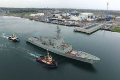 """The first Air Warfare Destroyer (AWD) for the Royal Australian Navy, the future HMAS Hobart, has commenced sea trials.  Guided by two tugboats, the Hobart departed the wharf at Techport Adelaide on Monday for the first time to commence """"several"""" days of shipbuilder sea trials off the coast of South Australia, shipbuilder AWD Alliance said."""
