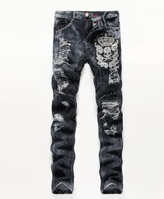 (44.18$)  Watch here - http://aim8k.worlditems.win/all/product.php?id=32800138990 - Straight Leg Cool Jeans For Young  Men Comfortable Trousers High Quality Men`s Printed Jeans Punk Style Cotton hot sale DY99