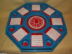 VINTAGE ROULETTE STYLE BINGO GAME SPINNER CARDS CHIPS PIPS 8 PLAYERS CASINO