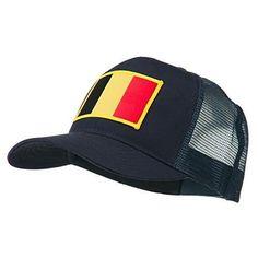Belgium Flag Patched Mesh Cap - Navy (Blue) Osfm, Men's