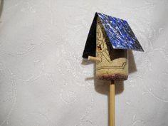 Fairy Garden Wine Cork Bird House by notjustknots on Etsy