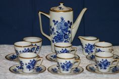 SALE Vintage shabby 16 piece Rare Cobalt Blue Rose Echt Kobalt Demitasse or tea set