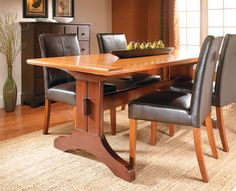 This modern twist on a traditional design makes room for extra seating. And with a few simple techniques, you'll have the table done quickly.