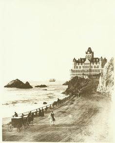 Cliff House. San Francisco, California. Built by Adolph Sutro in 1895. Burned to the ground in 1907 after surviving the 1906 earthquake.