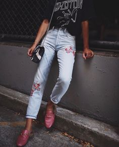 Pair your favorite embroidered jeans with a graphic tee and slide-on loafers. This look is easy yet comfortable and stylish. Let Daily Dress Me help you find the perfect outfit for whatever the weather! dailydressme.com/