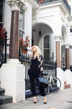 black, flower, jacket, bag, fashion, style, girl,