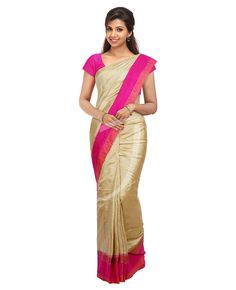 Buy Golden Colour Jute Silk Saree With Two Differently Designed Borders Online   Jayalakshmi Silks