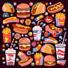 56 Ideas For Painting Sky Posts Character Illustration, Graphic Illustration, Posca Art, Branding, Food Drawing, Aesthetic Stickers, Food Illustrations, Cute Stickers, Doodle Art