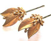 Bridal Hair Accessory Gold Leaf Hairpins Vintage Wedding Hairpiece Bobby Pin Clips