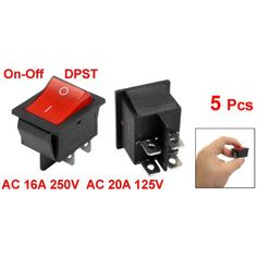 5 x Red Illuminated Light On/Off DPST Boat Rocker Switch 16A/250V 20A/125V AC #Affiliate