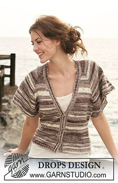 """Ravelry: 118-37 DROPS jacket in stockinette st with short, wide, raglan sleeves in """"Fabel"""" pattern by DROPS design"""