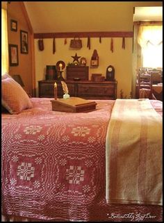 like the wooden rail at the crease in the wall.... Bedroom ideas---The coverlet and blanket on the bed can be purchased from The Old Mercantile in Clarksville Tn.------theoldmercantile.com----Facebook---931-552-0910 #PrimitiveBedroom
