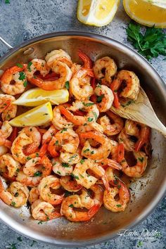 Lemon Garlic Butter Shrimp is packed full of flavour and ready on your table in under 10 minutes, with the lemon garlic butter sauce served over anything!