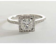 1.23 Carat Diamond Princess Cut Halo Diamond Engagement Ring | Blue Nile Engagement and Wedding Rings
