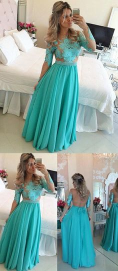 Boho Prom Dress, Charming Turquoise Crew Neck prom dresses, Long Sleeves Illusion Back sexy party dresses, Long Party Dress with Appliques Pearls Sash Attractive Dress Ombre Prom Dresses, Tight Prom Dresses, Prom Dresses Long With Sleeves, Long Prom Gowns, Beautiful Prom Dresses, Trendy Dresses, Simple Dresses, Homecoming Dresses, Evening Dresses