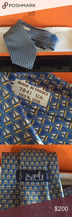 HERMÈS TIE HERMÈS TIE - A handsome Tie for a  dandy fellow who cares about his attire. Pre-loved in excellent condition. Handmade(in blue with boats in baby blue and yellow)in France, 7841 UA; 100% silk; comes gift ready in tissue paper and box! Hermes Accessories Ties