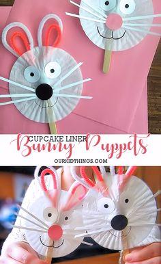 Cupcake Liner Bunny Puppets Easter Craft #Easter #kidscraft #puppet