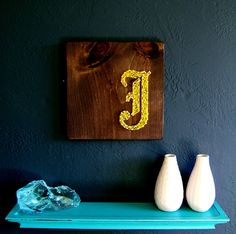 Modern String Art Wooden Tablet  Old English J in Gold by NineRed