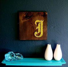 Modern String Art Wooden Tablet - Old English J in Gold on Espresso. Nine Red via Etsy.
