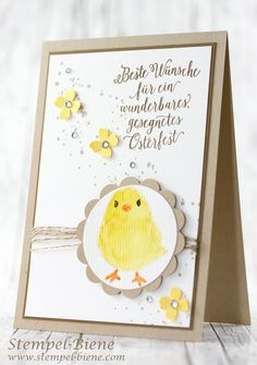 Osterkarte Stampin' Up; Aquarelltechnik; Sale a bration; Kükenstempel; So Süß Stampinup; Stempel-Biene