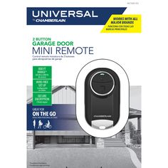The Universal Mini Garage Door Remote is incredibly portable and offers enhanced control of up to two different garage door openers. This easy-to-program two-button remote is compatible with over 90% of all garage door openers installed in North America, including major brands such as Chamberlain®, LiftMaster®, Craftsman®, Genie® and many more. It's the perfect option for runners, cyclists or anyone who wants quick access on the go. Garage Door Opener Installation, Garage Door Opener Remote, Ace Hardware, Cyclists, Runners, Craftsman, North America, Garage Doors, Button