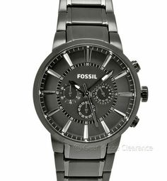 New FOSSIL Mens Chronograph Watch Ion Plated Gunmetal Gray Dial & Band, $145msrp