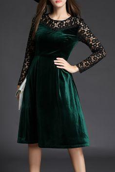 Lace Panel Velvet Dress #dress #dresses