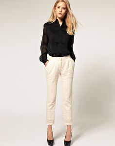 $68 ASOS Lace Pants With Pleated Front http://socialmediabar.com/get-started-right-now