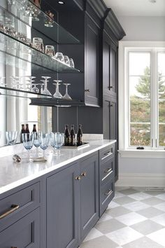 Glass Bar Shelves Blue Cabinets With Floating Transitional Kitchen For Shelf Mirror In Front Of Window Glass Bar Shelves, Glass Shelves In Bathroom, Floating Glass Shelves, Wall Shelves, Small Bathroom, Glass Front Cabinets, Bar Cabinets, China Cabinets, Home Bar Designs