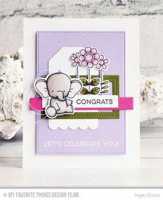 Doodled Blooms Card Kit, Adorable Elephants Stamp Set and Die-namics, Single Stitch Line Rectangle Frames Die-namics, Stitched Rectangle STAX Die-namics, Tag Builder Blueprints 2 Die-namics - Inge Groot  #mftstamps
