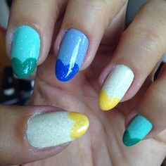 Nails of the week: Green, yellow and blue heart tips