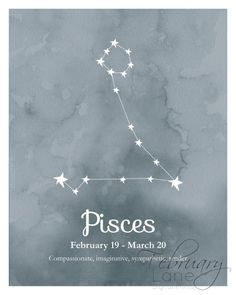 Pisces Zodiac Constellation Wall Art Printable 8x10 - Instant Download Birthday…