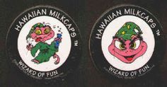 HAWAIIAN MILKCAPS (Worlds of Fun, BENJY, 1993): Die-cut, Printed in Hong Kong, Lot of 2 different, Wizard of Fun. Both for 60¢